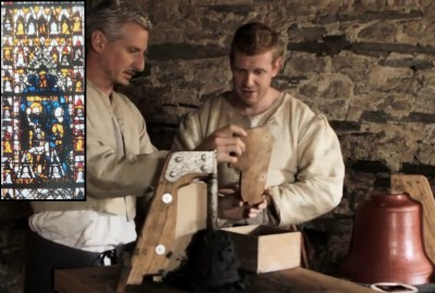 Tom Pinfold tries his hand at bell-making. Inset, the fourteenth-century Bell Founders' window at York Minster.