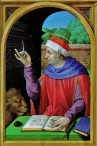 4 Mark sharpening his quill in French Renaissance Book of Hours as a scribe Waddesdon Manor, Aylesbury, The National Trust. Ms 20, f. 13v.