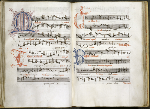 Opening from a Netherlandish manuscript containing 28 motets, 1513-c. 1525 (British Library, Royal 8 G VII, ff. 23v-24)