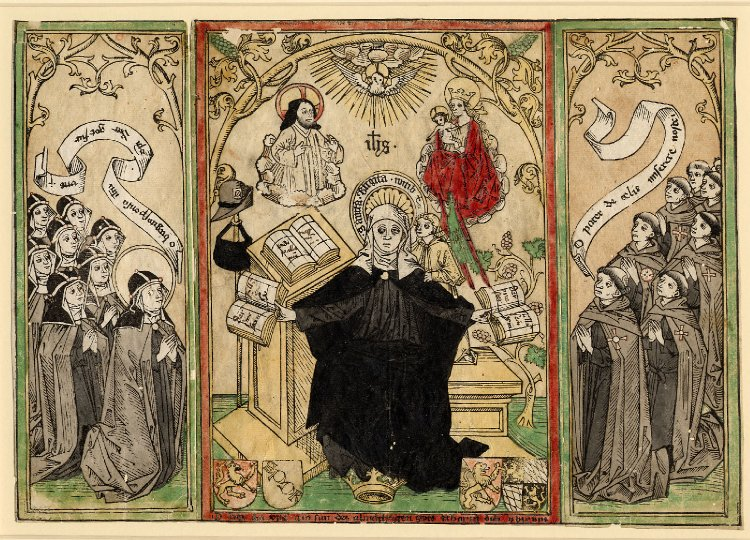 St Bridget giving her rule to her order