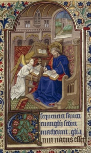 St Matthew shown writing his Gospel, from a 15th-century French Book of Hours from the John Rylands Library. JRL Latin MS 164, f.26r.