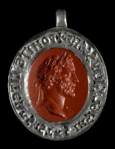 Silver seal matrix set with a red jasper Roman intaglio showing the emperor Antoninus Pius. Acquired with the assistance of Dr. John H. Rassweiler.