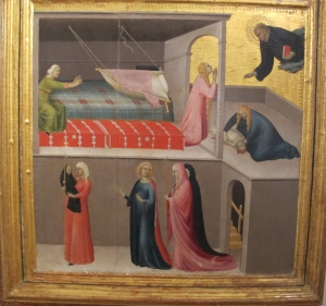 Simone Martini, Agostino Novello polytych, simultaneous narrative showing resurrection of a child