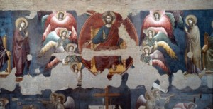 The Last Judgment, detail. By Pietro Cavallini (c.1250-c.1330). Fresco, c.1293. Church of Santa Cecilia in Trastevere, Rome, Italy .