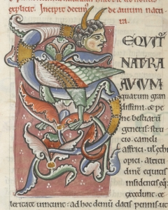 Large zoo-anthropomorphic initial from the Historia naturalis of Pliny the Elder, Arundel MS 98, f. 85v