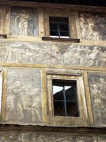 Palazzo Massimo Istoriato, a fading palace facade in Rome by Polidoro da Caravaggio and Maturino da Firenze, 1523.