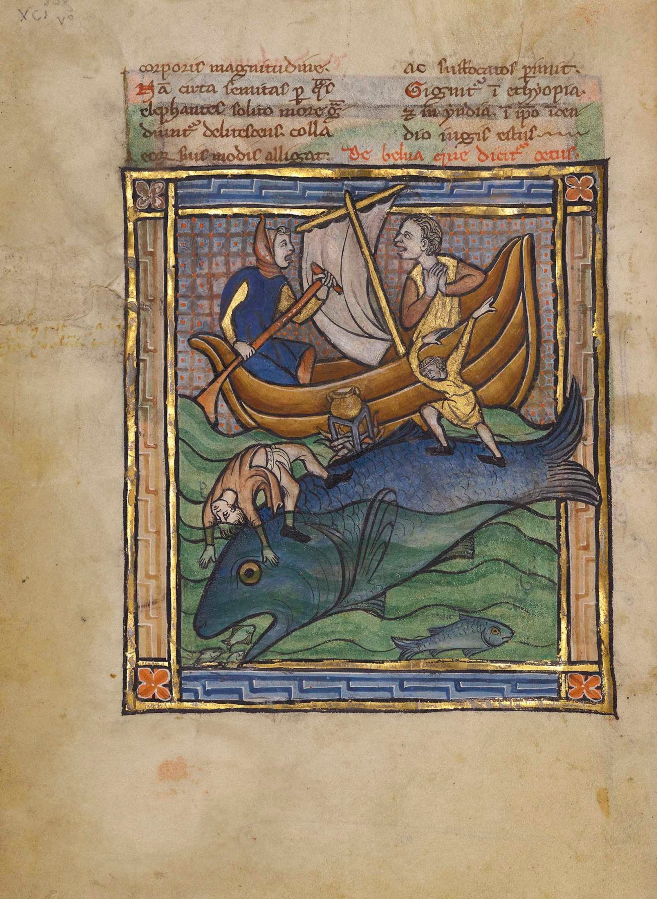 Two Fishermen on an Aspidochelone in a bestiary, about 1270, unknown illuminator, possibly made in Thérouanne, France. Tempera colors, gold leaf, and ink on parchment, 7 1/2 × 5 5/8 in. The J. Paul Getty Museum, Ms. Ludwig XV 3, fol. 89v. Digital image courtesy of the Getty's Open Content Program