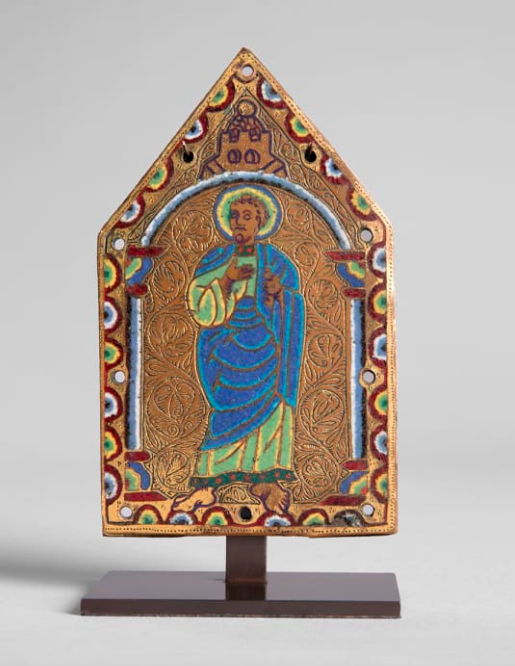 A Gable Plaque from a Reliquary Chasse showing an Apostle, c. 1190 (France, Limoges, from the so-called Chapitre Workshop) Sam Fogg